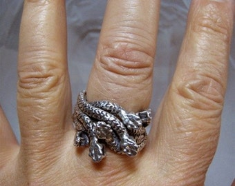 Snakes in the City Custom Ring Solid Sterling 925 R047