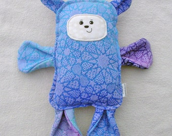 Bear Pillow Plush - Wrap Scrap Bear - Handmade Classic Toy - Blue Lavender Stuffed Bear - Keepsake Bear - OOAK Bear - Minimalist Toy Bear