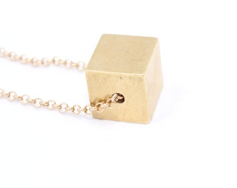 5 Pcs Raw Brass Cube Charms for Necklace (16x16mm) - Brass Cube Necklace , PND6