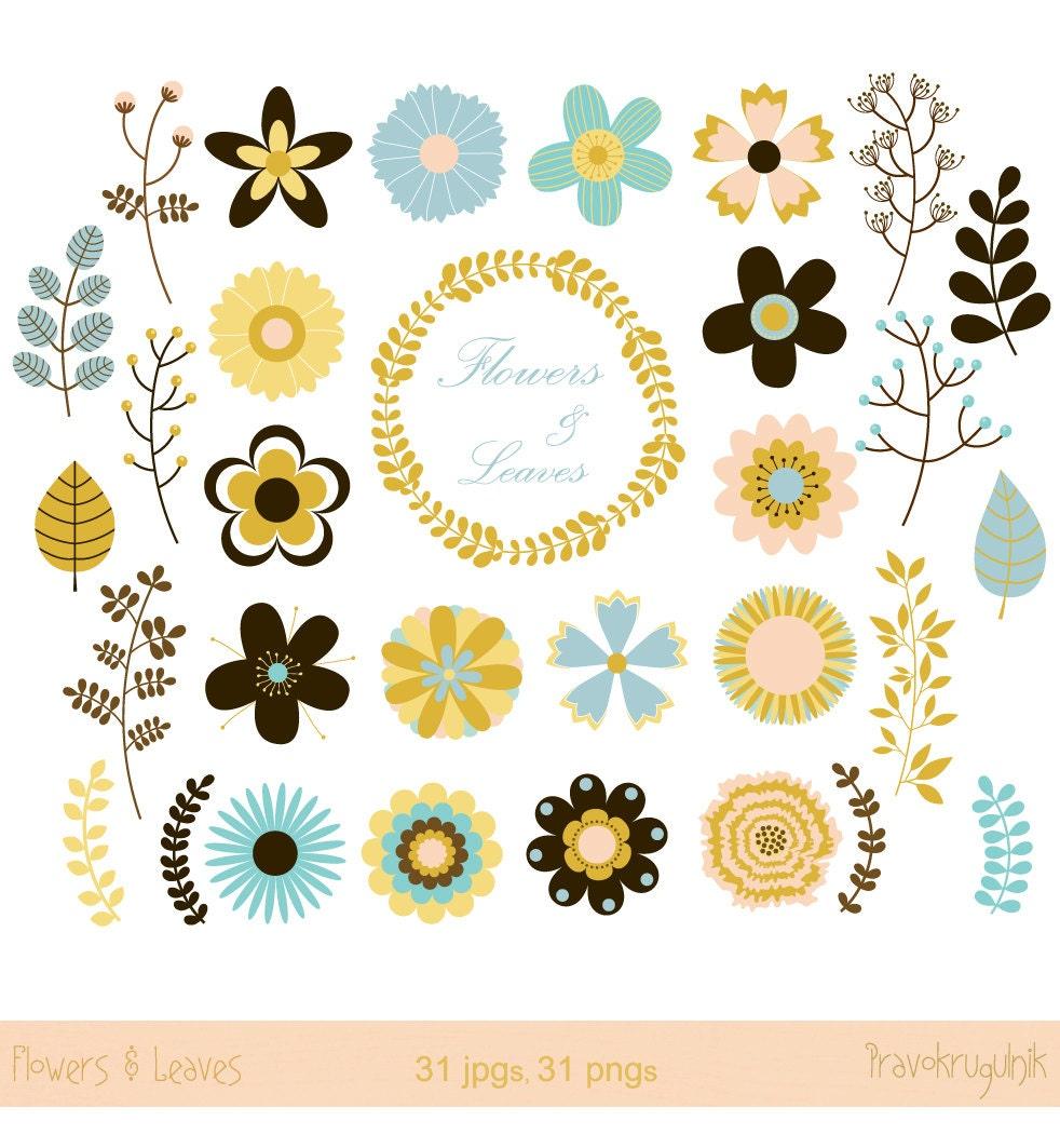 Autumn flowers clipart, Wedding floral clipart, Wedding flowers clip ...