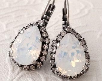 White opal crystal Swarovski drop earrings, Drop earrings, Bridesmaid gifts, Bridal jewelry, white opal jewelry, Dangle earrings