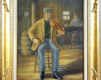 Superb ca.1985 Violinist Playing in a Bar/Restaurant Painting Oil/Canvas/Frame Signed