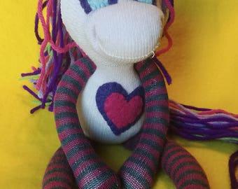 "Celeste - 11.25"" Sock Unicorn Plush - Handmade Plush Doll"