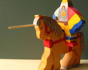 Knight and Horse, wooden Waldorf puzzle toy