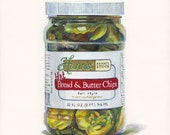 Bread and Butter Pickles. Original egg tempera illustration from 'The Taste of America' book.