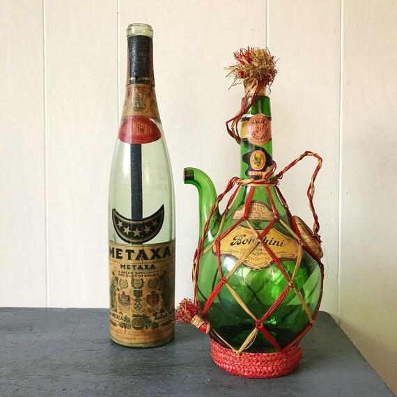 vintage wine bottle - glass wine carafe - Greek Metaxa decanter - kitsch Mid Century Modern bar decor