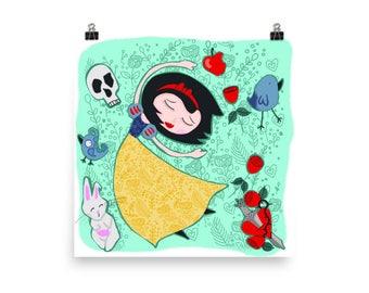 Snow White Whimsical Fairy Tale Art Poster