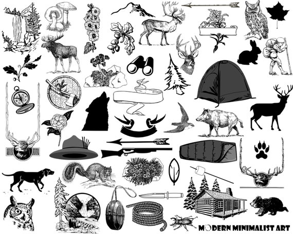 Rustic Forest Clipart Black And White 87 PNG Images From ModernMinimalistArt On Etsy Studio