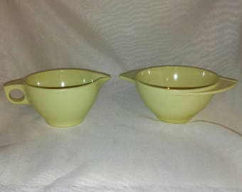 Boontonware Yellow Creamer and Open Sugar in Excellent Condition Vintage Melmac