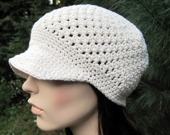 Cotton Women's Newsboy Hat, Crochet Women's Hat, Women's Summer Hat, Brimmed Adult Hat, Gifts for Mom, Mother's Day Gift, Birthday Gift