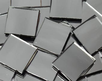 Gun Metal Gray Waterglass Mirror Stained Glass Mosaic Tiles