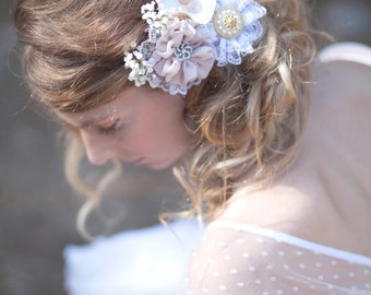 Wedding hair flower, hair pins, bridal hairpiece, blush ivory hair piece, Fascinator