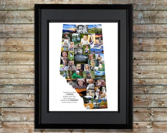 Alberta Canada Photo Collage | Canadian Picture Collage | Shape of Alberta | Canada Map | Alberta Map | Alberta CA Decor | Alberta Decor