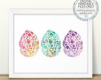 Printable Easter Egg Art, Three Easter Eggs, Easter Egg Printable, Easter Printable Wall Art, Watercolor Easter Eggs Print, Easter Printable
