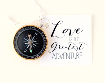 Compass wedding favor, Love is the Greatest Adventure, Card and compass wedding favor, Unique gift for guests, Rustic woodland camping