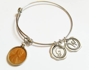15th Anniversary Gift 2003 US Penny Bracelet Expandable Bangle with initial charm Coin Jewelry