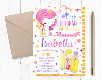 Lemonade First Birthday Invitation, Pink Lemonade First Birthday Invitations, Lemonade Unicorn First Invites, Unicorn Lemonade Party Invite,