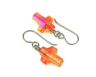 Crystal Cross Titanium Earrings, Astral Pink Swarovski Crosses on Titanium or Niobium Earrings for Sensitive Ears, Hypoallergenic No Nickel