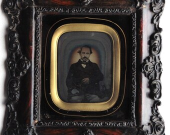 French Ambrotype framed in the nineteenth century. Portrait of a man. Framed French Ambrotype. Antique Photography