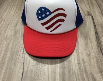 American Flag Heart Glitter Trucker Hat Foam Mesh River Camping Desert Riding Country Women's Adjustable