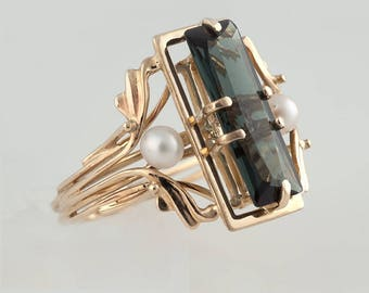 Golden Ring with Tourmaline