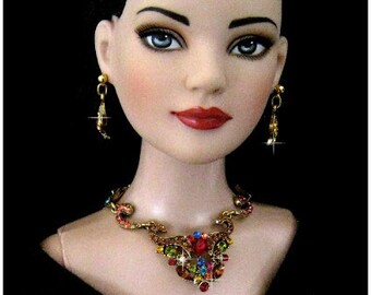 "Doll jewelry for Tonner American Model, BJD,  and other 22"" fashion dolls by SohoDolls, Multi Rhinestone necklace and earrings"