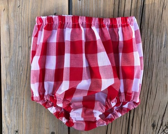 Handmade Bloomers High waisted shorts size 12 months old baby girls fashion first birthday outfit diaper cover red buffalo plaid new