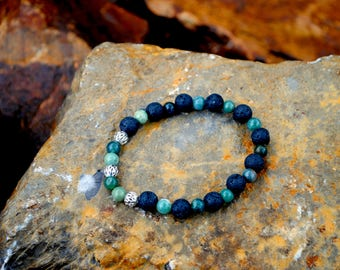 Lava Stone essential oil diffuser bracelet with jade gemstone beads