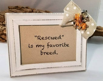 Rescued is my favorite breed decorative frame