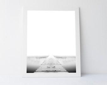 Modern minimalist, lake wall art, lake print, peaceful art print,printable wall art, black white nature, zen print, nature wall art, minimal