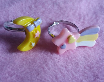 Kawaii cute pastel moon and shooting star rings | sweet lolita party kei fairy kei