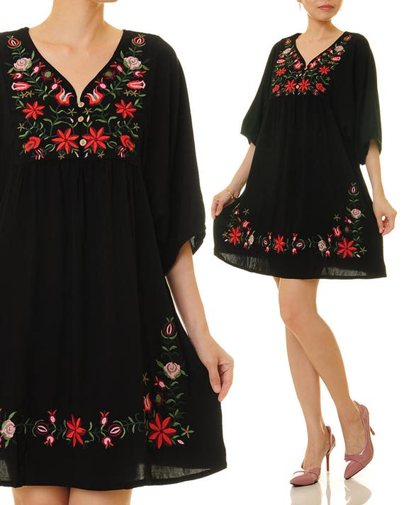 - Embroidery Tunic Top Mexican Embroidered Dress Black