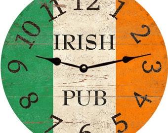 Irish Clock. Irish Pub 3 Tone Color Scheme Wall Clock. Orange White and Green Clock