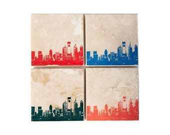 Philadelphia Skyline Coaster Set (4 Stone Coasters, Orange, Green, Blue, & Red) Philly Cityscape Home Decor