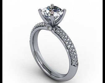 Diamond Pave and Moissanite Engagement Ring