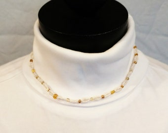 "Cream White Golden Choker Necklace Piece #84 ""Chrysaline"" Simple Design"