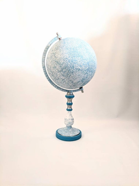 Large Blue Globe: hand painted globe winter wonderland blue and white globe Globe Art