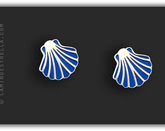 Shell studs earrings silver blue Camino de Santiago