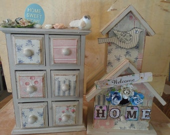 Chic Shabby Cottage Decoupaged and Jewelry Box Set