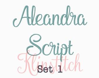 50% Sale!! Set 1 Aleandra Script Embroidery Fonts 5 Sizes Fonts BX Fonts Embroidery Designs PES Fonts Alphabets - Instant Download