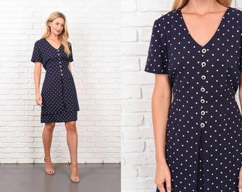 Vintage 80s Polka Dot Print Dress navy Blue White Retro Short sleeve Medium M 10439