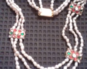 Superb 1950's 3 Strand Freshwater Pearl Necklace Foiled Glass Jewels