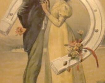 SALE Nice Embossed Vintage Couple Postcard #1