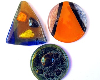 Fused Glass Cabochon Pendants