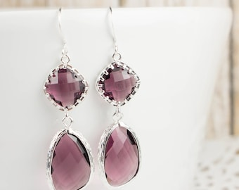 Long Amethyst Silver Earrings, Large February Birthstone Silver Earrings, Amethyst Earrings, February Birthstone Jewelry, Bridesmaid Gift