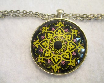 Pretty Yellow & Black MANDALA Cabochon PENDANT Necklace