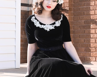 velvet lux swing rockabilly vintage inspired dress custom made lace trim