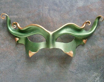 Green Goblin Leather Mask - IN STOCK  - Olive Imp, Handcrafted Unisex Mask Cosplay Costume for Halloween, LARP, Masquerade