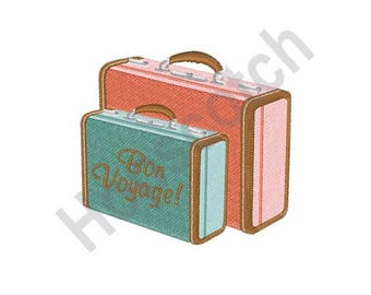 Bon Voyage Luggage- machine embroidery design