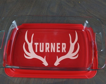 Personalized Casserole Dish Pyrex Baking Dish Engraved Casserole Dish Antlers Deer Outdoor Manly Christmas Present Wedding Gift A 33